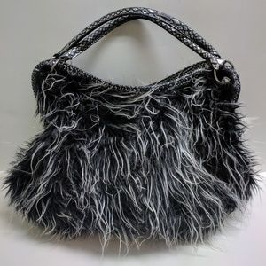Handbags - Faux fur Black Gray Silver purse hand bag hobo